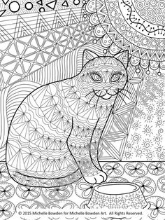 "This is an 8.5"" x 11"" coloring page download inspired by the original zendoodle called Anticipation of Noms. Cat coloring"