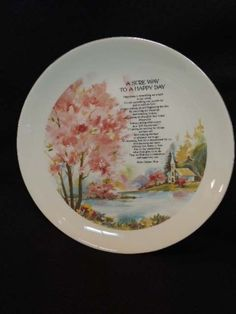VINTAGE GIBSON PLATE.. A Sure Way To A Happy Day.. Poem Helen Steiner Rice