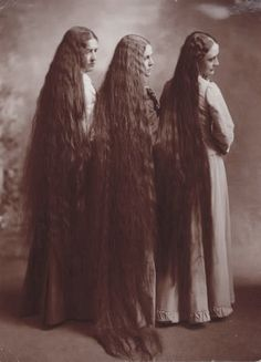 Three Women with Long Hair By Belle Johnson ,c 1900.