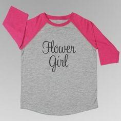 Flower Girl / Junior Bridesmaid Baseball Tee Pink Grey, Hot Pink, Junior Bridesmaid Gifts, Flower Girl Gifts, Grey Shirt, Little Girls, Tees, Shirts, Baseball