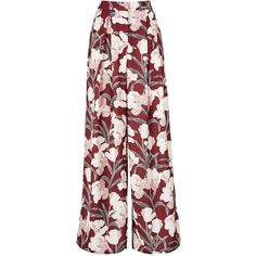Keepsake Foundations Floral Print Trouser ($175) ❤ liked on Polyvore featuring pants, capris, burgundy, high waisted wide leg pants, stretch pants, stretchy pants, burgundy pants and floral pants