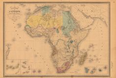 Probably the most productive period for African exploration in the history of the continent; the geographic gains from the expeditions of David Livingstone, Sir Richard Francis Burton and John Hanning Speke, and Henry Morton Stanley are evident, as is the advance of European influence in (and control of) territories, depicted by the color-coded areas. Illustrated by Eugène Andriveau-Goujon in 1880.