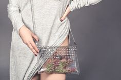 Bolso del ojal sobre bolsa transparente claro embrague bolso bolso con cadena de cuero caramelo correa bolsa Aeropuerto industrial moderno bolso