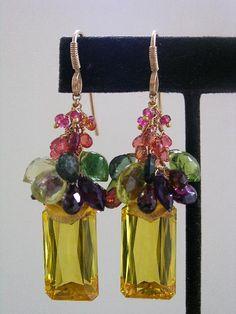 New York to Paris...Elegantly Bold Signature and Original Gold Filled Gemstone Tassel Earrings with Lemon Quartz Emerald cut Dangles