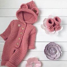 50 Ideas For Crochet Baby Onesie Pattern Ideas Baby Girl Crochet, Newborn Crochet, Crochet Baby Hats, Crochet For Kids, Knitted Baby Clothes, Knitted Romper, Baby Knitting Patterns, Baby Patterns, Baby Bunny Costume