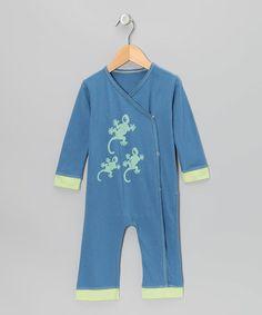 Indigo & Pistachio Gecko Organic Wrap Playsuit - Infant & Toddler by Kids Organic #zulily #zulilyfinds