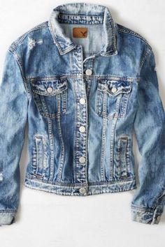 A true style essential. Shop the AEO Tomgirl Denim Jacket from American Eagle Outfitters. Check out the entire American Eagle Outfitters website to find the best items to pair with the AEO Tomgirl Denim Jacket. Destroyed Denim Jacket, Distressed Jean Jacket, Oversized Denim Jacket, Denim Coat, Tomboy Fashion, Denim Fashion, Fall Fashion, Cute Jackets, Denim Jackets