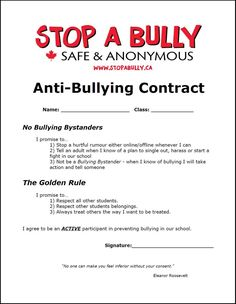 Anti-Bullying Contract (fun and interesting idea to make students think twice… Bullying Worksheets, Anti Bullying Activities, Bullying Posters, Bullying Lessons, Bullying Quotes, Counseling Activities, Bullying Facts, Counseling Worksheets, Letter Worksheets