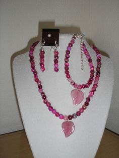 Pink Banded Agate w/pink carved leaf in by CreationsbyMaryEllen, $15.75