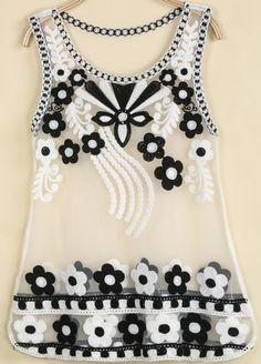 Black Sleeveless Embroidered Sheer Mesh Yoke Vest - Sheinside.com