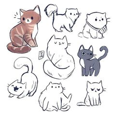 A lot of kitties sketches from yesterday😻❤️ I was really in a cat mood and what time is more perfect to post it then Thank you… Cute Animal Drawings, Animal Sketches, Art Drawings Sketches, Cool Drawings, Cartoon Drawings Of Animals, Cartoon Cartoon, Cat Cartoon Drawing, Kitty Drawing, Cute Cat Drawing