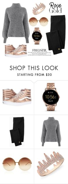 """""""Rose gold"""" by pamela-802 ❤ liked on Polyvore featuring Vans, FOSSIL, Kate Spade, Warehouse, Linda Farrow and Anne Sisteron"""