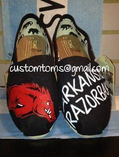 Arkansas Razorbacks Custom TOMS Classics via Etsy for kelsey