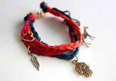 DIY Braided charm bracelet. Another bracelet that is perfect for stacking!