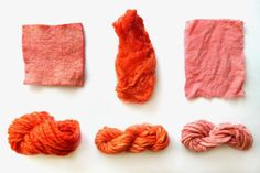 madder dye mordanted with alum; cotton also mordanted wtih tara (tannin) From left to right and from up to down: merino felt, silk fibers, cotton fabric, and merino, alpaca and cotton yarn dyed with madder w. Sustainable Textiles, Shibori, Natural Materials, Diy Clothes, Lana, Screen Printing, Cotton Fabric, Fiber, Weaving