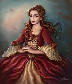 Belle in her Christmas dress from Beauty and the Beast Merry Christmas! Disney Fan Art, Disney Love, Disney Belle, Disney Artwork, Disney Magic, Walt Disney, Queen Alice, Belle Beauty And The Beast, Disney Pictures