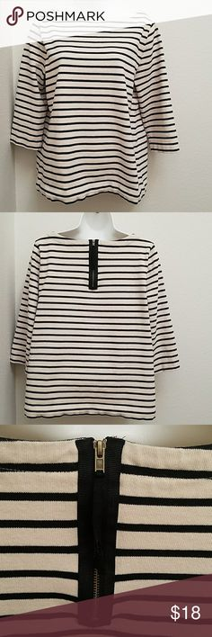 LOFT Cotton Blouse EUC Cream and Black striped Size Large 3/4 sleeve Functional and cute zipper in back 100% cotton LOFT Tops Blouses