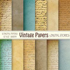 Old paper digital paper pack VINTAGE PAPERS by DigitalStories, €2.80