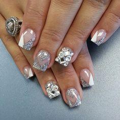 Silver bling nails