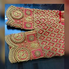 For bride Preethi ❤️❤️❤️❤️❤️ Kindly ping us on 9884686333 for details and bookings Cutwork Blouse Designs, Wedding Saree Blouse Designs, Simple Blouse Designs, Stylish Blouse Design, Saree Blouse Neck Designs, Hand Embroidery Designs, Aari Embroidery, Embroidery Stitches, Designer Blouse Patterns