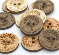 "Wooden Buttons - Ideal for crochet and knitted products - laser cut and engraved to your specifications - Dozen 1"" buttons"