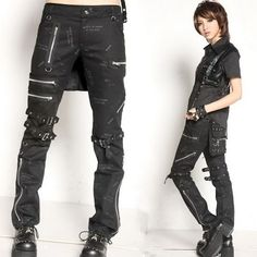 Men Women Black Gothic Punk Rock Emo Casual Pants + Bag Scene Clothes SKU-11404123