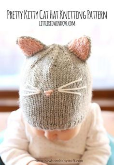 Baby Knitting Patterns Pretty Kitty Baby Hat | AllFreeKnitting.com...