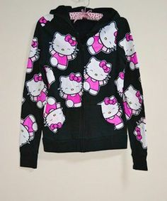 Sanrio Hello Kitty Hoodie Visual Kei Punk Goth Cyber Cosplay Hot Topic Forever21
