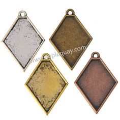 Zinc Alloy Rhombus Charms,Cabochon Setting,Plated,Cadmium And Lead Free,Various Color For Choice,Approx 27.5*19*2.5mm,Hole:Approx 1.5mm,Sold By Bags,No 002407