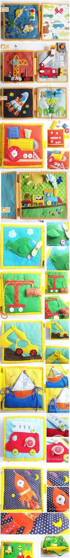 Quiet book (ou livro sensorial em português) é um livrinho para crianças feito de feltro ou pano, com atividades para desenvolver a coordenação motora fina e estimular os sentidos. Existem muitos ...