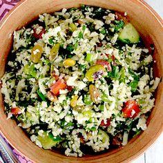 Cauliflower Tabbouleh with Raisins & Pistachios Recipe - Clean Eating