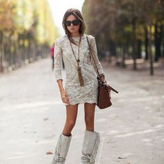 Back in the day, I SO would've worn this!   Lace Dress + Fringe Boots | Speechless...
