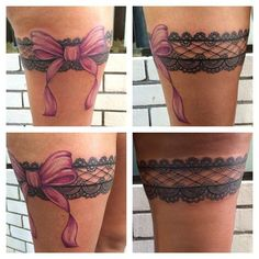 Lace tattoos are true pleasure for the eyes,but garter tattoos are stretching the limits Moños Tattoo, Tattoo Lace, Thigh Garter Tattoo, Lace Garter Tattoos, Ribbon Tattoos, Rosary Tattoos, Bracelet Tattoos, Heart Tattoos, Lace Thigh Tattoos