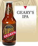 Geary's IPA This ale has its origins in the traditional English style, with a generous helping of American exuberance. Bright copper in color, it has an assertive hop bitterness balanced with a subtle malt foundation. Dry hopping at two sates of the brewing process provides floral and fruity hop flavors adding to the complexity of the brew. Original gravity ~ 1060; Alcohol by volume -- 6%. http://www.gearybrewing.com/