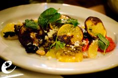 Winter citrus, Marcona almond, lentil, olive jam, and parmigiano at Brucie, NY. (Photo by: ettible)