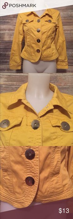 "A.M.I Yellow Cropped Blazer Size M Adorable Yellow Blazer. Size M. Long Sleeves. Big Silver Buttons. Dress it up or dress it down. Two functional breast pockets.   🎀Brand: A.M.I  🎀Condition: Decent, buttons have a few scratches from washing. Some wrinkling may occur during shipment. No stains, holes or rips.  🎀 Length: 19""  🎀Width (closed) 16"" 🎀Sleeve Length 21 1/2""  🎀Measurements are approximate.  🎀97% Cotton, 3% Spandex A.M.I  Jackets & Coats Blazers"