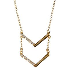 Argento Vivo 18K Yellow Gold Plated Sterling Silver CZ Chevron Pendant... ($14) ❤ liked on Polyvore featuring jewelry, necklaces, gold, gold chevron necklace, 18 karat gold necklace, yellow gold necklace, 18k gold pendant and sterling silver necklace pendant