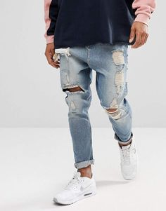 Browse online for the newest ASOS DESIGN drop crotch jeans in vintage light wash blue with heavy rips styles. Shop easier with ASOS' multiple payments and return options (Ts&Cs apply). Rugged Style, Big Men Fashion, Fashion Tips, Fashion Edgy, Fashion Vintage, Fashion Ideas, Fashion Trends, Fashion Websites, Fashion Hair