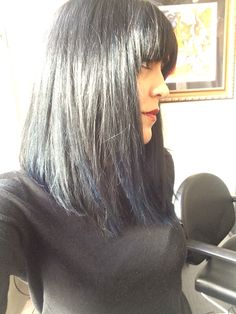 My beautiful Client Sophia! Heavy bangs, shiny black with Navy Blue accents!