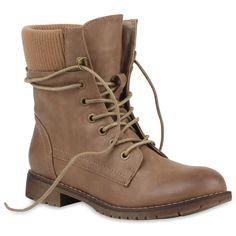 Damen-Stiefeletten-Worker-Boots-Strick-Schnuerstiefel-77079-Trendy
