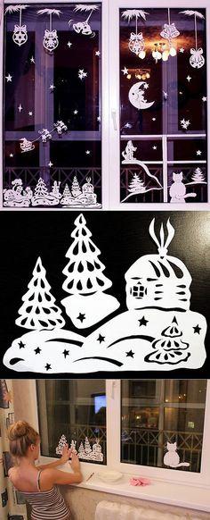 Новогодние киригами_3_воплощенные идеи.   Новый год и Рождество (идеи и красота)