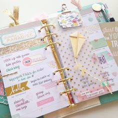 My happy little yellow kite from @theplannersociety's April kit found his home in my Light Teal Color Crush this week. I love the extra wide page markers - more places to stick pretty things? Yes,...
