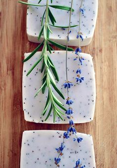 14 Recipes for Handmade Natural Soap that use all natural ingredients such as essential oils, dried herbs, and mineral colors.