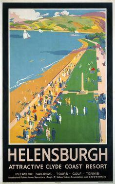 Print (Helensburgh, England – Crowds along Clyde Coast Beach Railways – Vintage Travel Poster) Posters Uk, Train Posters, Railway Posters, Poster Prints, British Travel, British Seaside, National Railway Museum, Tourism Poster, New York
