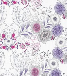 Sateen Fabric-Sketch Botanical Floral