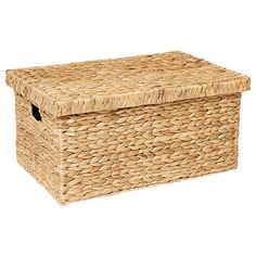 With its natural finish, this hyacinth large basket with lid is perfect for the laundry, or used as a simple storage solution inside the home. Dimensions: (h) x (w) x (d) Large Basket With Lid, Large Baskets, Wicker Baskets, Linen Storage, Laundry Storage, Linen Cupboard, Home Design Decor, Storage Boxes, Storage Ideas