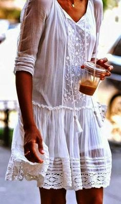 Boho chic gypsy crochet embellished modern hippie tunic cover up dress. For the BEST in Bohemian fashion trends FOLLOW http://www.pinterest.com/happygolicky/the-best-boho-chic-fashion-bohemian-jewelry-gypsy-/