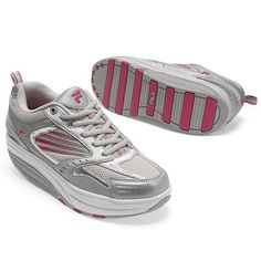 FILA SPORT® Women's Walk-n-Sculpt High-Performance Toning Sneakers, Silver/Pink, Size 8.5