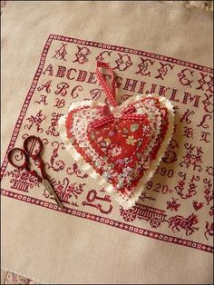 fabric heart ornaments but use lace and pearls with vintage fabric