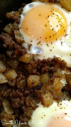 Hash & Eggs! This is an easy, rustic one-dish meal made with ground beef, potatoes, onions and eggs. So simple!